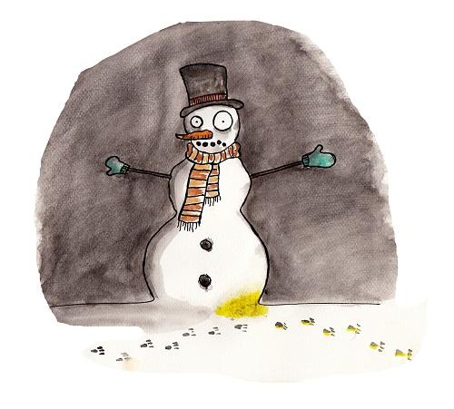 Schneemann unglücklich